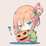 1girl :t bangs barefoot beni_shake blue_eyes blue_skirt blush brown_background brown_hair chibi closed_mouth commentary_request eyebrows_visible_through_hair green_hoodie hair_between_eyes hair_ornament head_tilt hood hood_down hoodie jack-o'-lantern object_hug one_side_up original pleated_skirt pout sitting skirt solo translation_request v-shaped_eyebrows