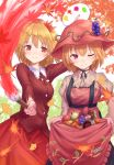 2girls ;) aki_minoriko aki_shizuha apple arm_up autumn_leaves bangs beige_shirt black_choker blonde_hair blush breasts choker commentary_request cowboy_shot dress eyebrows_visible_through_hair food food_themed_hair_ornament frills fruit grape_hair_ornament grapes hair_between_eyes hair_ornament hat highres holding holding_paintbrush juliet_sleeves lace-trimmed_collar lace_trim leaf leaf_hair_ornament long_sleeves looking_at_viewer medium_breasts multiple_girls mushroom nail_polish one_eye_closed paintbrush palette puffy_sleeves red_eyes red_hat red_nails red_shirt red_skirt ribbon_choker roke_(taikodon) shirt short_hair siblings sisters skirt skirt_hold smile standing strapless strapless_dress suspenders sweet_potato tomato touhou white_background