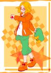 1girl bag bel_(pokemon) blonde_hair breasts commentary_request creatures_(company) full_body game_freak green_hat handbag hat jacket medium_hair nintendo orange_jacket poke_ball pokemon pokemon_(game) pokemon_bw2 smile solo