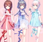 3girls ahoge bangs black_hair blue_bow blue_dress blue_eyes blue_flower blue_hairband blue_ribbon blush bow breasts brown_hair chi_yei choker closed_mouth commentary_request dress eyebrows_visible_through_hair flower green_eyes hair_between_eyes hair_flower hair_ornament hair_rings hairband hand_up leg_ribbon long_hair luo_tianyi multiple_girls pink_background red_bow red_eyes red_flower red_ribbon ribbon ribbon_choker sample see-through short_hair short_shorts short_sleeves shorts silver_hair small_breasts smile very_long_hair vocaloid vocanese white_dress white_shorts yanhe yuezheng_ling