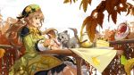 1girl :d autumn_leaves black_skirt bow brown_eyes cake cup ddaomphyo dog dress food green_dress green_hat hat hat_ornament leaf licking long_hair mano_(teria_saga) maple_leaf open_mouth outdoors plate profile railing sitting skirt slice_of_cake smile spill table teacup teapot teria_saga tiered_tray twintails white_sky yellow_bow