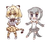 2girls :d animal_ears bangs black_bow blonde_hair blue_eyes blush bow brown_belt brown_eyes brown_skirt center_frills closed_mouth commentary_request elbow_gloves eyebrows_visible_through_hair fingerless_gloves frills full_body fur_collar gloves grey_gloves grey_hair grey_legwear grey_swimsuit hair_between_eyes hono jaguar_(kemono_friends) jaguar_ears jaguar_print jaguar_tail kemono_friends lowres multicolored multicolored_clothes multicolored_hair multicolored_swimsuit multiple_girls one-piece_swimsuit open_mouth otter_ears otter_girl otter_tail outstretched_arms pleated_skirt print_legwear print_skirt shirt shoes short_hair short_sleeves simple_background skirt small-clawed_otter_(kemono_friends) smile standing streaked_hair striped_tail sweater swimsuit tail thighhighs toeless_legwear v-shaped_eyebrows white_background white_footwear white_hair white_shirt white_sweater