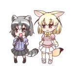 2girls :3 :d animal_ears bangs black_bow black_footwear black_skirt blonde_hair blush bow brown_eyes closed_mouth commentary_request common_raccoon_(kemono_friends) extra_ears eyebrows_visible_through_hair fennec_(kemono_friends) fox_ears fox_girl fox_tail full_body grey_hair grey_legwear hair_between_eyes hands_on_hips hono kemono_friends lowres multiple_girls open_mouth pantyhose pink_sweater pleated_skirt puffy_short_sleeves puffy_sleeves purple_shirt raccoon_ears raccoon_girl raccoon_tail shirt shoes short_sleeves simple_background skirt smile standing striped_tail sweater tail thighhighs white_background white_footwear white_skirt yellow_bow