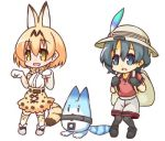 2girls :d animal_ears backpack bag bangs black_footwear black_gloves black_legwear blush bow bowtie commentary_request elbow_gloves extra_ears eyebrows_visible_through_hair full_body gloves grey_shorts hair_between_eyes hands_up hat_feather helmet high-waist_skirt hono kaban_(kemono_friends) kemono_friends light_brown_hair lowres lucky_beast_(kemono_friends) multiple_girls open_mouth pantyhose pith_helmet print_gloves print_legwear print_neckwear print_skirt red_shirt robot serval_(kemono_friends) serval_ears serval_print serval_tail shirt shoes short_shorts short_sleeves shorts simple_background skirt sleeveless sleeveless_shirt smile standing striped_tail tail thighhighs white_background white_footwear white_gloves white_shirt