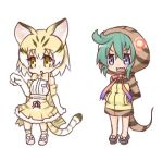 2girls animal_ears bare_shoulders blonde_hair blue_eyes blush cat_ears cat_girl cat_tail commentary_request elbow_gloves full_body geta gloves green_hair hands_in_pockets hono hood hood_up hoodie kemono_friends lowres multicolored_hair multiple_girls neck_ribbon open_mouth parted_lips pink_ribbon pleated_skirt print_gloves ribbon sand_cat_(kemono_friends) sand_cat_print shirt short_hair simple_background skirt sleeveless sleeveless_shirt snake_tail standing striped_hoodie striped_tail tail tsuchinoko_(kemono_friends) wavy_mouth white_background white_gloves white_hair white_shirt yellow_eyes yellow_skirt