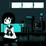 1girl animated animated_gif aqua arm_at_side arm_up bird blinking blue book bookshelf bottle closed_mouth computer computer_tower contrapposto cork corked_bottle flower glasses hair_ornament hairclip holding holding_book long_sleeves looking_to_the_side lowres monitor monochrome original pantyhose pixel_art raised_eyebrow sailor_collar short_sleeves skirt toyoi_yuuta window