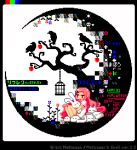 1girl animal animal_hug animated animated_gif apple bare_tree bird birdcage blinking blue_flower bunny cage crescent_moon crow english_text flower food fruit hair_ornament hairclip legs_together long_hair long_sleeves moon original pink_eyes pink_hair pink_shirt pixel_art red_flower shiny shiny_hair shirt short_sleeves skull toyoi_yuuta translation_request tree very_long_hair