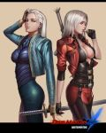 2girls artist_name banned_artist beige_background belt belt_buckle black_gloves blue_eyes blue_jacket blue_nails breasts brown_gloves buckle cleavage commentary dante_(devil_may_cry) devil_may_cry devil_may_cry_4 english_commentary eyelashes fingerless_gloves genderswap genderswap_(mtf) gloves hand_on_own_head jacket katana large_breasts letterboxed logo long_hair long_sleeves looking_at_viewer multiple_girls nail_polish pants partly_fingerless_gloves red_jacket red_nails sheath sheathed simple_background sword sword_behind_back thumb_to_mouth vergil weapon white_hair yinan_cui