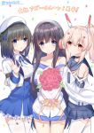 3girls acasta_(azur_lane) ayanami_(azur_lane) azur_lane bangs bare_shoulders belt_buckle beret black_choker blue_belt blue_bow blue_eyes blue_footwear blue_sailor_collar blue_skirt blush bouquet bow breasts brown_hair buckle choker closed_mouth collarbone commentary_request confetti detached_sleeves eyebrows_visible_through_hair flower garter_straps girl_sandwich hair_between_eyes hair_bow hair_ornament hairclip hand_up hat headgear headphones high-waist_skirt high_ponytail highres holding holding_bouquet light_brown_hair long_hair long_island_(azur_lane) long_sleeves medium_breasts multiple_girls neck_ribbon off_shoulder parted_lips pink_flower pink_rose pleated_skirt ponytail red_eyes ribbon rose sailor_collar sandwiched shirt short_sleeves simple_background skirt sleeveless sleeveless_shirt sleeves_past_wrists smile takeg05 thighhighs translation_request twitter_username very_long_hair white_background white_belt white_hat white_legwear white_shirt yellow_neckwear