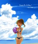 1girl ball beachball bikini black_bikini blue_sky blurry breasts brown_hair character_name cleavage cloud cloudy_sky day english eyebrows_visible_through_hair front-tie_bikini front-tie_top hair_tie happy_birthday highres holding koretsuna kurimoto_haruka medium_breasts medium_hair navel ocean outdoors ponytail school_girl_strikers side-tie_bikini sky solo swimsuit tan tanline thigh_gap transparent