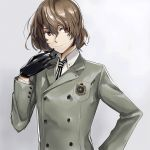 1boy akechi_gorou black_gloves brown_hair gloves grey_background grey_blazer hair_between_eyes hand_on_hip houhou_(black_lack) looking_to_the_side male_focus necktie persona persona_5 red_eyes school_uniform shiny shiny_hair short_hair simple_background smile solo upper_body vertical-striped_neckwear