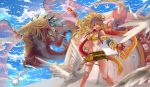 1girl absurdres aircraft airship arm_up bandanna beads bikini_top bird blonde_hair blue_sky braid breasts card claws cleavage detached_sleeves dragon fangs final_fantasy final_fantasy_x final_fantasy_x-2 fingerless_gloves gloves highres horns looking_at_viewer medium_breasts monster navel open_mouth outstretched_arm rikku scarf skirt sky smile sonyamoon666 stomach wings yellow_bikini_top