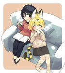 2girls alternate_costume animal_ears black_hair blonde_hair blue_eyes blush book casual commentary_request contemporary couch cuddling cup eyebrows_visible_through_hair eyes_closed flats highres holding holding_cup hood hoodie initsukkii kaban_(kemono_friends) kemono_friends long_sleeves mug multicolored_hair multiple_girls pants serval_(kemono_friends) serval_ears serval_print serval_tail short_hair sitting skirt smile socks sweater tail