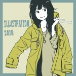 1girl bangs black_hair blue_border border closed_mouth coat commentary_request facing_viewer flat_color hosoo jewelry light_brown_background light_brown_shirt long_hair looking_to_the_side necklace open_clothes open_coat original shirt_under_coat sleeves_past_fingers sleeves_past_wrists smile solo translation_request white_skin yellow_coat