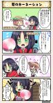 2girls 4koma :o black_hair bottle bow brown_hair carnation_(flower_knight_girl) character_name comic dot_nose emphasis_lines eyebrows_visible_through_hair fan flower_knight_girl gloves green_eyes hair_bow hat long_hair long_sleeves multiple_girls paper_fan purple_eyes red_neckwear short_hair speech_bubble straw_hat sweat tagme translation_request twintails uchiwa white_tulip_(flower_knight_girl) |_|