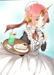 1girl alternate_costume apron bangs bendy_straw beret black_dress blue_eyes blush brown_eyes cake cheesecake cherry_blossoms closed_mouth cup dress drink drinking_glass drinking_straw enmaided fate/grand_order fate_(series) flower food fork frankenstein's_monster_(fate) hat heterochromia highres holding holding_flower holding_tray horn ice ice_cream ice_cream_float ice_cube juliet_sleeves long_sleeves maid mini_hat parted_bangs pink_hair plate puffy_sleeves sena_tea29 short_hair slice_of_cake smile solo tray white_apron white_flower white_hat