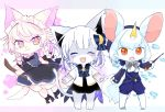3girls brown_eyes cat eyes_closed furry long_hair mizuiroribbon multiple_girls riding short_hair smile sparking_eyes stick white_hair witch