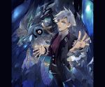 1boy ascot awai_(pixiv29777040) beldum blue_eyes carbink cave collared_shirt cowboy_shot creatures_(company) crystal fisheye floating formal game_freak gen_3_pokemon gen_6_pokemon grey_hair hands_up holding holding_poke_ball jacket jewelry light_smile long_sleeves looking_at_viewer male_focus metagross nintendo one-eyed open_clothes open_jacket outstretched_arm outstretched_hand pants parted_lips pillarboxed poke_ball pokemon pokemon_(creature) pokemon_(game) red_eyes red_neckwear ring shirt short_hair standing suit suit_jacket tsuwabuki_daigo ultra_ball vest wing_collar