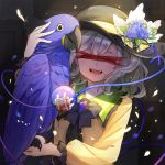 1girl ^_^ animal bandaid bangs bird black_bow black_hat black_neckwear blood blue_flower blue_rose bow bowtie brooch censored closed_eyes commentary_request eyeball eyes_closed fangs flower frilled_shirt_collar frills hair_between_eyes hand_up hat hat_flower holding holding_animal hyacinth_macaw identity_censor jewelry komeiji_koishi long_sleeves macaw musical_note musical_note_print open_mouth parrot petals puffy_sleeves rose shirt short_hair silver_hair sindre smile solo sparkle tears third_eye touhou upper_body white_flower yellow_shirt