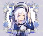 1girl blue_flower blue_rose blush braid demon_girl demon_horns earrings elsword flower hand_on_headwear horns jewelry lolita_fashion long_hair long_sleeves luciela_r._sourcream mellchi noblesse_(elsword) one_eye_closed rose smile star star-shaped_pupils symbol-shaped_pupils white_hair