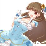 1girl ;d bangs blue_choker blue_dress blunt_bangs breasts brown_hair choker cleavage crown dress dutch_angle eyebrows eyebrows_visible_through_hair formal gloves hair_bun hair_ribbon idolmaster idolmaster_cinderella_girls kamiya_nao long_dress long_hair looking_at_viewer medium_breasts mini_crown one_eye_closed open_mouth pointing pointing_up puffy_short_sleeves puffy_sleeves red_eyes ribbon saezu_habaki short_sleeves simple_background smile solo standing thick_eyebrows white_background white_gloves white_ribbon
