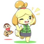 1girl black_eyes blonde_hair brown_hair doubutsu_no_mori excited furry jumping nintendo one_eye_closed short_hair solo villager_(doubutsu_no_mori) yoshi00000091