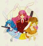3girls alternate_costume animal_ears bangs blonde_hair blue_hair bunny_ears bunny_tail circle commentary_request dango dress eating floppy_ears food full_moon hat kine long_hair mallet moon moon_rabbit multiple_girls nazo_(mystery) orange_shirt purple_hair red_eyes reisen_udongein_inaba ringo_(touhou) seiran_(touhou) shirt short_sleeves shorts smile tail touhou very_long_hair wagashi