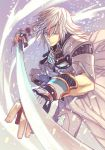 1boy armor artist_request blue_eyes gloves katana looking_at_viewer male_focus nintendo shin_(xenoblade) short_hair simple_background solo sword weapon white_hair xenoblade_(series) xenoblade_2 xenoblade_2:_ogon_no_kuri_ira