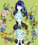 3others aaaa_(pinkume39goya) androgynous aqua_eyes aqua_hair blue_eyes blue_hair bug butterfly colored_eyelashes crystal_hair eyebrows_visible_through_hair eyes_visible_through_hair flower gem_uniform_(houseki_no_kuni) gold golden_arms green_background highres hime_cut houseki_no_kuni insect long_hair looking_at_viewer multiple_others multiple_persona necktie open_mouth phosphophyllite phosphophyllite_(ll) short_hair smile spoilers upper_body white_skin