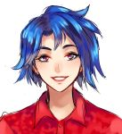 bangs banned_artist blue_hair collared_shirt commentary_request emily_(stardew_valley) eyelashes portrait red_shirt reef shirt short_hair simple_background sketch solo stardew_valley teeth white_background