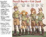 2018 amber_eyes blue_eyes canine cat clothing coyote cub dog domovoi_lazaroth english_text eyewear feline ferret fitzgerald_(camp_pines) gabriel_(camp_pines) glasses lion male mammal matthew_(camp_pines) mustelid samuel_(camp_pines) smile standing text uniform william_(camp_pines) wolf young