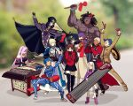 4boys 6+girls ahoge anger_vein archer armor armored_dress artoria_pendragon_(all) bangs bare_shoulders berserker black_gloves black_hair black_legwear black_skirt blindfold blonde_hair blue_bodysuit blue_hair blurry bodysuit bow bracer cape caster child cloak coat collar commentary_request covering_ears dark_skin dark_skinned_male depth_of_field detached_sleeves dizi dress drum erhu faceless facial_mark fate/stay_night fate_(series) forehead_mark gauntlets gloves hair_bow hair_bun hair_ribbon hat homurahara_academy_uniform hood hooded_cloak instrument lancer long_hair long_skirt long_sleeves matou_sakura matou_shinji meme motion_lines multiple_boys multiple_girls music open_mouth parody pauldrons pink_footwear pink_hair pipa_(instrument) playing_instrument ponytail purple_hair purple_ribbon red_bow red_coat ribbon rider saber school_uniform short_hair shoulder_armor sitting skirt strapless strapless_dress suona tagme thighhighs tohsaka_rin trench_coat trumpet trumpet_boy twintails two_side_up white_hair white_skirt yaoshi_jun zettai_ryouiki