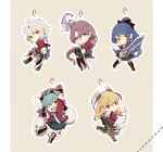 5girls ahoge alisa_reinford aqua_hair ascot blonde_hair blue_eyes blue_hair boots bow bow_(weapon) braid chibi cockeet dual_wielding eiyuu_densetsu emma_millstein feathers fie_claussell full_body greatsword green_eyes grey_background gunblade hair_bow hair_feathers holding keychain laura_s._arzeid long_hair looking_at_viewer millium_orion miniskirt multiple_girls one_eye_closed open_mouth outline plaid plaid_skirt pleated_skirt ponytail purple_hair red_eyes school_uniform sen_no_kiseki short_hair silver_hair simple_background skirt smile staff twintails weapon yellow_eyes