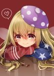 1girl absurdres acorn adapted_costume american_flag_jacket bangs beret blonde_hair blue_jacket blush casual clownpiece commentary_request contemporary elbow_rest eyebrows_visible_through_hair fairy_wings hair_between_eyes hat head_rest heart highres jacket long_hair long_sleeves mimoto_(aszxdfcv) polka_dot polka_dot_hat puffy_sleeves purple_hat red_background red_jacket simple_background smile solo spoken_heart star star_print striped_jacket touhou wings yellow_eyes