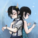 2girls back-to-back bare_arms bare_shoulders black_hair blue_background blue_dress bug closed_mouth collared_shirt commentary_request cyclops dragonfly dress dress_shirt ebimomo flower hair_flower hair_ornament hand_on_own_chest hand_up highres horns insect insect_on_finger ladybug low_twintails multiple_girls one-eyed original purple_eyes shirt short_sleeves skirt smile suspender_skirt suspenders twintails white_shirt wing_collar yellow_flower