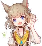 1girl :d absurdres animal_ears bell blue_eyes brown_choker cat_ears choker collarbone copyright_name eyebrows_visible_through_hair fang final_fantasy final_fantasy_xiv hair_bell hair_ornament hand_up highres jewelry jingle_bell khloe_aliapoh light_brown_hair looking_at_viewer miqo'te necklace open_mouth paw_print senano-yu short_hair smile solo upper_body white_background