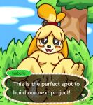 2018 animal_crossing anthro anus blush breasts butt canine digital_media_(artwork) dog female fur hair isabelle_(animal_crossing) looking_at_viewer lying mammal nintendo nipples nude nulloffset on_back open_mouth outside presenting presenting_anus presenting_hindquarters presenting_pussy pussy shih_tzu sky smile solo spread_legs spreading text tongue tree video_games yellow_fur