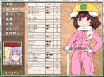 2girls :3 adapted_costume animal_ears bangs belt blush breast_pocket brown_background brown_hair bunny_ears carrot_print character_name commentary_request eyebrows_visible_through_hair eyes_closed feet_out_of_frame food_print gloves hair_between_eyes hand_on_hip hand_up hardhat hat helmet inaba_tewi jacket long_hair long_sleeves looking_at_viewer multiple_girls pants partially_translated pink_jacket pink_pants pocket purple_hair red_eyes reisen_udongein_inaba scarf shirosato short_hair shovel smile standing touhou translation_request white_gloves white_scarf wing_collar yellow_hat