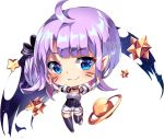 1girl :3 ahoge artist_name big_head black_bow black_choker black_legwear blue_eyes blush bow breasts chibi choker closed_mouth commentary detached_sleeves english_commentary full_body hair_bow head_tilt heart heart_in_eye long_hair one_side_up original planet puffy_short_sleeves puffy_sleeves purple_hair short_shorts short_sleeves shorts small_breasts solo space squchan star striped striped_bow symbol_in_eye thighhighs transparent_background underbust watermark web_address whisker_markings white_shorts