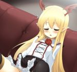 1girl bangs bat_wings black_legwear black_skirt blonde_hair blush breasts commentary_request couch dutch_angle eyebrows_visible_through_hair eyes_closed facing_viewer flower frilled_skirt frills hair_between_eyes head_wings long_hair momio on_couch parted_lips pointy_ears red_flower red_rose red_wings rose shingeki_no_bahamut shirt sitting skirt sleeping small_breasts solo thighhighs vampy very_long_hair white_shirt wings