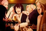 6+girls alcohol arm_up arms_up bangs bare_shoulders beer beer_mug birthday birthday_party black_eyes black_hair black_kimono blonde_hair blush breasts cake cherry commentary_request confetti couch cup drinking_glass earrings english eyebrows eyes_closed facial_mark fishnets folded_ponytail food forehead_mark fruit grey_kimono haruno_sakura high_ponytail highres holding holding_cup indoors japanese_clothes jewelry kimono lipstick long_hair makeup may_c medium_breasts mitarashi_anko mug multiple_girls naruto naruto_(series) naruto_shippuuden one_eye_closed open_mouth parted_bangs party_popper pink_hair profile purple_hair raised_eyebrows red_lips shizune_(naruto) short_hair signature smile strawberry teeth tsunade upper_body upper_teeth yamanaka_ino yuuhi_kurenai
