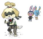 2015 animal_crossing anthro bandanna canine clipboard clothed clothing crossover dog eye_patch eyewear female frown fur isabelle_(animal_crossing) konami lagomorph mammal metal_gear mitogenesis naked_snake nintendo paws pen rabbit shih_tzu simple_background video_games white_background yellow_fur