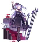 1girl ajax_(azur_lane) alcohol alternate_costume arm_up azur_lane bangs bare_shoulders black_bow black_dress black_footwear black_hat blush bow breasts bridal_gauntlets brown_legwear cannon crossed_legs cup dress dress_lift drinking_glass eyebrows_visible_through_hair floating_hair flower full_body hair_bow hat hat_flower head_tilt high_heels holding holding_cup kaede_(003591163) legs_crossed lifted_by_self long_hair long_sleeves mini_hat mini_top_hat official_art one_eye_closed pantyhose parted_lips pouring purple_eyes purple_flower purple_hair purple_rose rose see-through shoes small_breasts smile smirk stairs standing strapless strapless_dress striped table tilted_headwear top_hat transparent_background tsurime turret two_side_up vertical-striped_hat vertical_stripes very_long_hair watson_cross wine wine_glass
