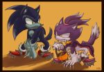 anthro blaze_the_cat blazecake boots bucket candy cat claws clothing duo fangs feline female food footwear forehead_gem green_eyes halloween hedgehog holidays male mammal sonic_(series) sonic_the_hedgehog spikes werecat werehog yellow_eyes