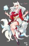 1girl :d ahri animal_ears boots commentary_request fox_ears fox_tail full_body fusion grey_background hands_up highres idolmaster idolmaster_(classic) korean korean_commentary league_of_legends long_hair looking_at_viewer multiple_tails open_mouth red_eyes shijou_takane signature simple_background smile solo tail tuxedo_de_cat very_long_hair whisker_markings white_hair