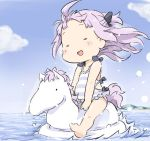 1girl :d =_= ahoge azur_lane bangs bare_arms bare_legs bare_shoulders barefoot black_bow blue_sky blush_stickers bow casual_one-piece_swimsuit chibi cloud collarbone commentary_request day eyes_closed facing_viewer forehead hair_bow ham_(points) horizon long_hair mountain ocean one-piece_swimsuit open_mouth outdoors pink_hair sitting sky smile soles solo striped striped_swimsuit swimsuit unicorn_(azur_lane) water