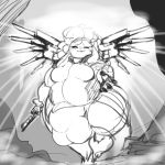 anthro balls ber00 big_balls big_butt big_penis body_hair breasts bulge butt caprine clothed clothing cookie_dough_(oc) cosplay curly_hair dickgirl greyscale hair huge_balls hyper hyper_balls hyper_penis intersex mammal mercy_(overwatch) monochrome overwatch overweight penis sheep solo video_games wide_hips