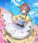1girl apron apron_hold blue_eyes blue_sky bow braid brown_hair bug cloud copyright_name crown_braid day dragonfly field flower flower_field green_bow hair_between_eyes hair_bow insect interitio long_sleeves looking_at_viewer official_art outdoors petals pink_flower short_hair sid_story skirt sky smile watermark yellow_skirt