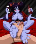 2018 5_fingers 5_toes :3 alcohol animal_humanoid anthro arachnid arthropod balls beverage black_hair blush breasts chara_(undertale) claws clothed clothing digital_media_(artwork) duo erection feet female foot_fetish footjob hair hair_ribbon human humanoid humanoid_feet insect larger_female looking_pleasured lying male male/female mammal mostlyfunstuff muffet multi_arm multi_eye multi_limb nipples nude open_mouth penis ribbons sex size_difference smile spider toe_claws toes two-footed_footjob undertale video_games wine wine_bottle wine_glass