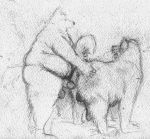 anthro anthro_on_feral balls bd belly bestiality big_belly big_penis butt canine clothing dog erection feral fur hand_on_butt humanoid_penis imminent_sex legwear male male/male mammal mostly_nude nude obese overweight pencil_(artwork) penis slightly_chubby socks traditional_media_(artwork)